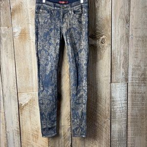 7FAMK Floral Gold Jacquard Print Skinny Jeans 26